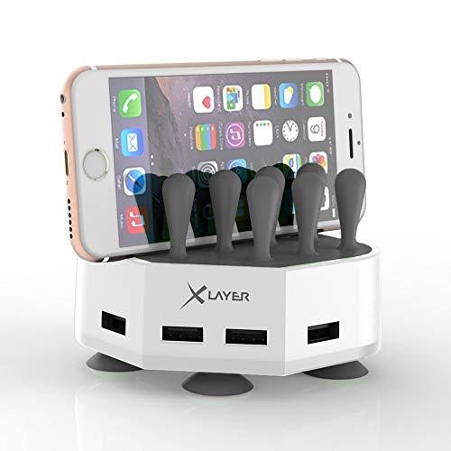 Preisvergleich Produktbild Xlayer Powerbank Family Charger Mini,  extravagante Tischladestation für Smartphone und Tablet,  Ladefläche mit Saugnapf für festen Halt auf dem Schreibtisch 4-Port USB,  Weiß-Grau