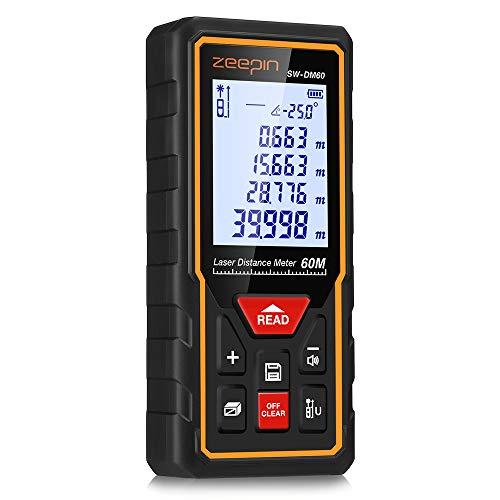 Distance Meter ZEEPIN per Telemetro Laser (Range 0.05~60m / ± 2mm con Retroilluminazione LCD, Protezione Antipolvere e Antipolvere IP 54)