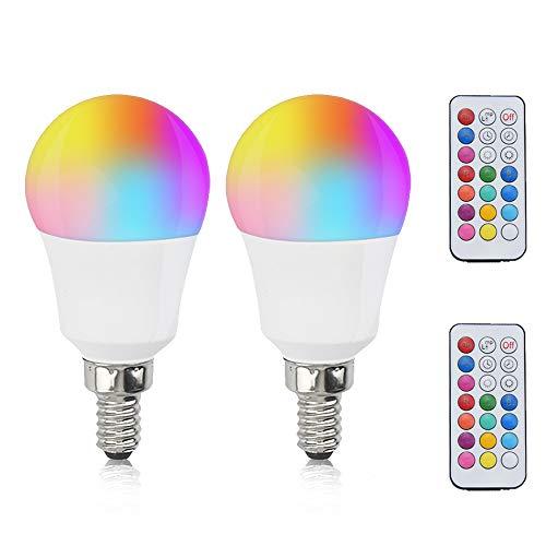 Bonlux E14 LED RGB+Warmweiß 2700K 3W Dimmbar Farben Lampen P45 Glühbrine AC 85-265V 270lm Abstrahlwinkel 120° Mit Fernbedienung Ersetzt 25W Für Party Farbige Birne Leuchtmittel (2 Stück)