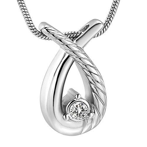 JJPRFO UrnenhalsketteEdelstahl Memorial Souvenir Halskette Memorial Ash Smoke Anhänger Teardrop Ur Halskette-Silber
