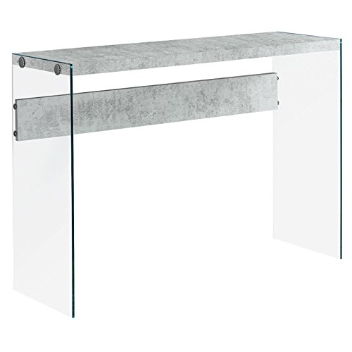 Monarch specialties , Console Sofa Table, Tempered Glass, Grey Cement, 44'L