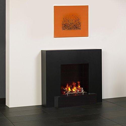 muenkel Design Breeze Elektro camino Opti-myst: Nero grigio–X2–senza riscaldamento, con decorazione legno (Juneau)