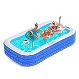 Hyvigor Familienpool, 300 * 180 * 50cm Schwimmbecken, rechteckiges Planschbecken mit 2 Bälle, aufblasbarer Pool mit Aufbewahrungstasche