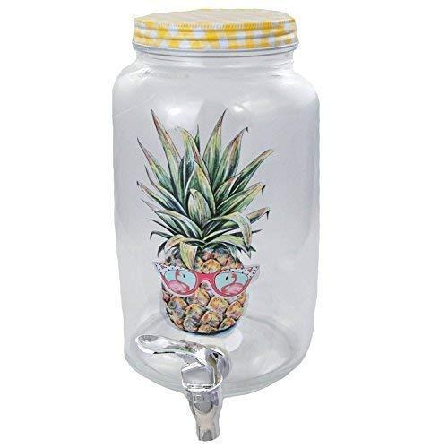 TopTen Getränkespender 3 Liter mit Ananas Flamingo Aufdruck & Zapfhahn