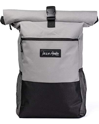 TerraUno Rolltop Rucksack Herren & Damen I Daypack mit Laptopfach I 20 L bis 30 L I Idealer Begleiter für Schule, Uni, Job, und Reisen I Grau