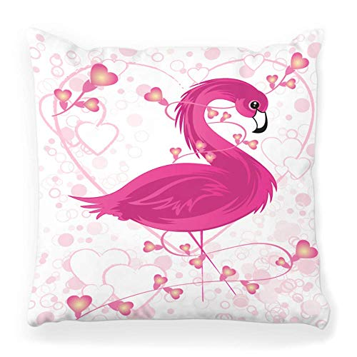 Fendy-Shop Pillow Cover 20x20 Pink Flamingo Animal Behavior Bird Cartoon Concepts Cute Dating Day Elegance Feather Flower Gift Grace