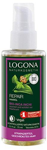LOGONA Naturkosmetik Repair Haaröl Bio-Inca-Inchi, Repariert Haardschäden vom Ansatz bis in die Spitzen, Natürliche Repair-Formel, Vegan, 75ml
