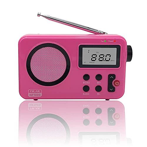Radio NK- AB1904- FMROS/Am -  Radio Portátil de Sobremesa,  Pantalla LCD con Luz,  Antena,  Altavoz,  4 Pilas AA,  Cable DC5V,  Rosa (Función Radio Despertador) #