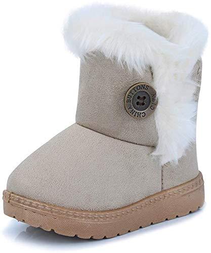 Vorgelen Botas de Nieve para Niños Invierno Felpa Botines Calentar Botas de Nieve Bebés Antideslizantes Zapatos Botas (Beige - 21 EU = Etiqueta 22)