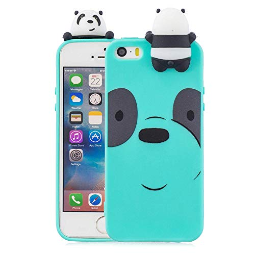 LAXIN Cute Panda TPU Cover for iPhone 5 / 5s / SE,Soft 3D Silicone Case,Cute Animal Rubber Cover,Cool Kawaii Cartoon Gel Case for Kids Girls Fun Soft Silicone Shell - Mint Green