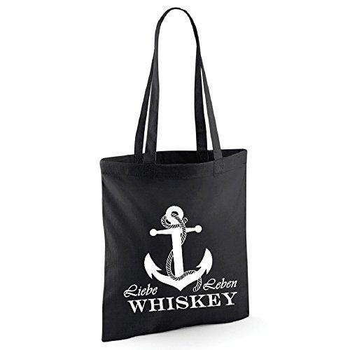 Liebe Leben Whiskey Tasche Beutel Schwarz Grau (Schwarz)