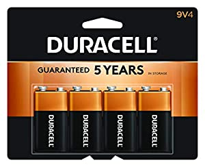 Duracell CopperTop 9V Alkaline Batteries   Long Lasting, All-Purpose 9 Volt Battery   4 Count from Duracell
