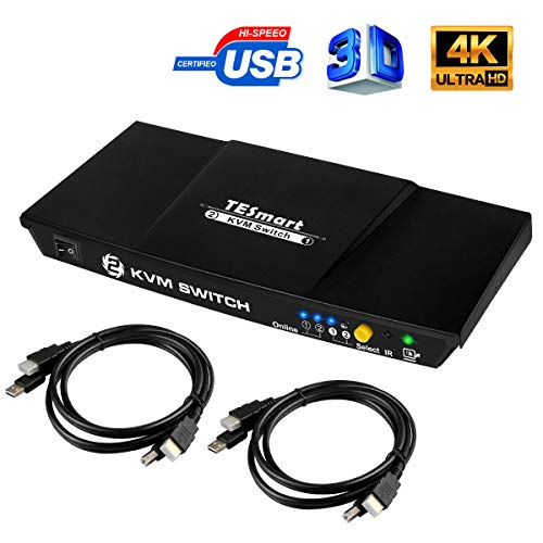 TESmart KVM Switch HDMI USB Commutatore a 2 Porte + 2 Cavi HDMI USB, 2 in 1, con Hub USB 2.0 4K 30Hz Ultra HD 1080P 3D per PC Monitor/Tastiera/Controllo del Mouse(Nero)