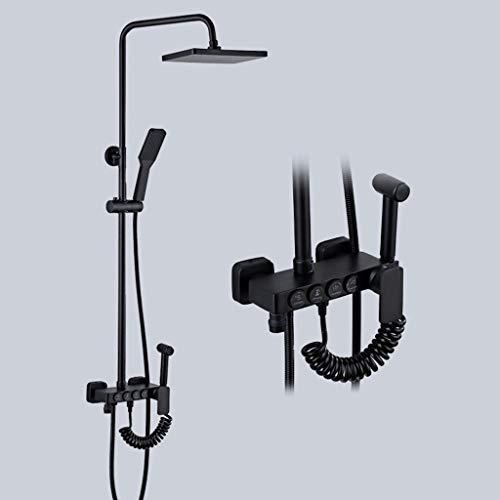 ZQG Europese koper alle zwarte douchesystemen Kit met een vrouw wasfunctie vier-speed druk ontkalken douchekop en handheld kranen E