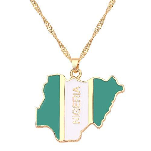 YQMR Collar Colgante Mapa Mujer,Mapa De África Collar Vintage Dorado Bandera De Nigeria Colgante Multicolor Retro Joyería Dama Regalo Clásico para Parejas Cumpleaños Boda