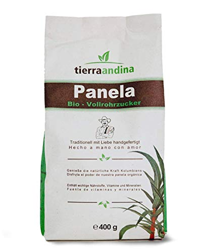 Tierra Andina Panela Bio Vollrohrzucker | In nachhaltiger Verpackung aus dem Zuckerrohr | leckere Karamellnote zum Kochen, Backen, Süßen | 400 g