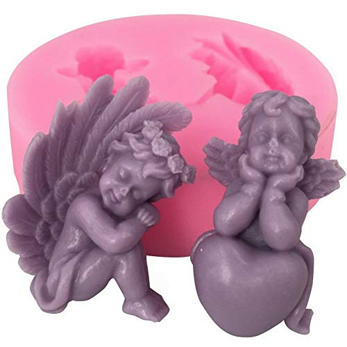 Silicone Molds, 3D Stereo Heart Angel Cylindrical Candle Cake Chocolate Soap Silicone Mold, Aroma Wax Melt Candle Making Supplies Tools, Small Mould, DIY Baking Tool Home Decoration for Christmas