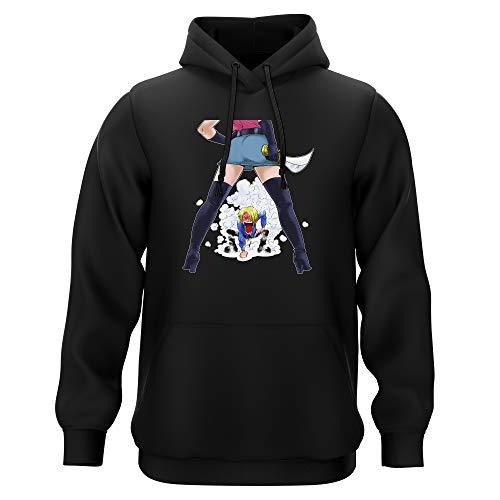 Sweat-Shirt à Capuche Noir Parodie One Piece - Sanji - Love Gear (Edition limitée) !! (Sweatshirt de qualité Premium de Taille M - imprimé en France)