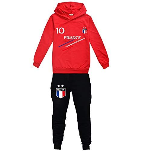 Jersey para niño de fútbol de Francia, 2 estrellas, sudaderas con capucha, chándal para niño rojo 11-12 Años