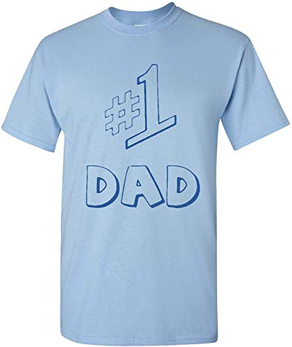 #1 Dad Adult Light Blue T-Shirt Tee (X-Large)