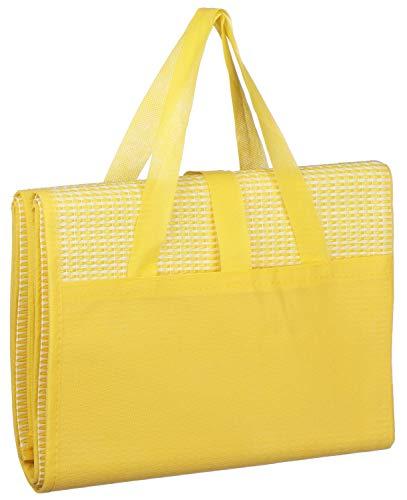 com-four® Picknickdecke - Ultraleichte Stranddecke, faltbar mit Tragegriff ideal als Campingdecke oder Strandmatte (01 Stück - 90x175cm/gelb)