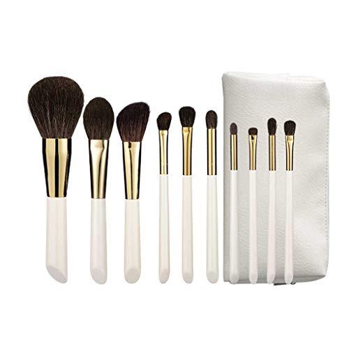 GCX- Brosse Maquillage Ensemble 10 Poils Vrais Cheveux Ensemble Complet de Jeu Brosse Ombre lâche Oeil Brosse Poudre Haut de Gamme Professionnelle Brosse Beau (Color : White)