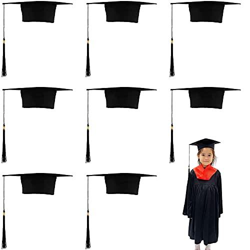 Carnavalife 8 PCS Birrete Graduación Sombrero Estudiante de Graduado Fieltro Gorra Unisex Escuela Secundaria Master Doctorado (Niños)