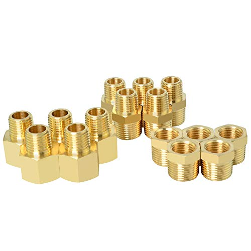 Gasher 15PCS Brass Pipe Fitting, Hex Bushing, Reducer Adapter, Reducing Hex Nipple 3/8 Inch NPT x 1/4 Inch NPT