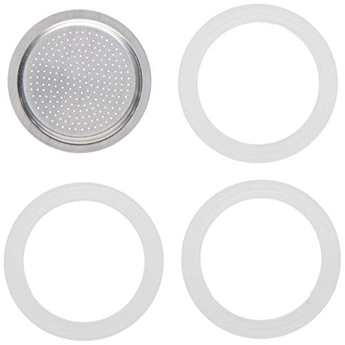 Bialetti - 080001 - 3 Joints et 1 Filtre pour Moka - 1 Tasse - Aluminium - Blanc