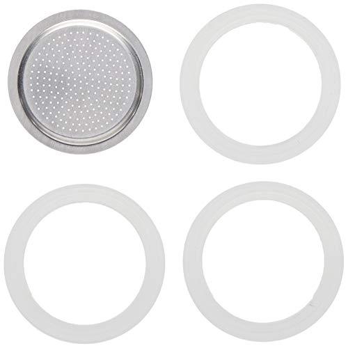 Bialetti Moka Express con 3 Guarnizioni e 1 Piastrina , 1 Tazza, Alluminio, Bianco