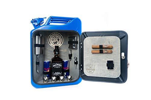 JerryCan - Tanica per benzina originale US JerryCan, 20 l, trasformata in un elegante minibar, colore: Blu
