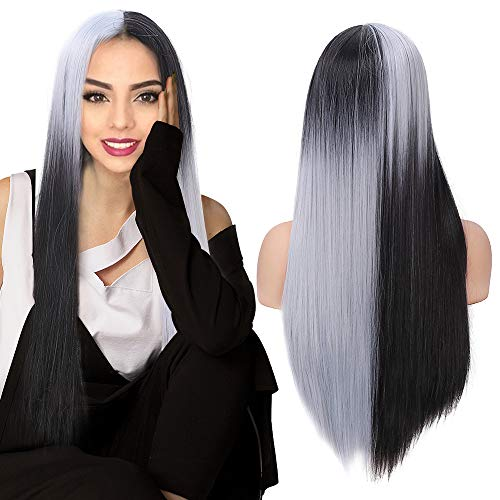 YMHPRIDE 24 Zoll schwarz silber weiß gerade lange Perücken halb schwarz und halb weiß synthetische Anime Cosplay Karneval Perücken für Frauen Mädchen