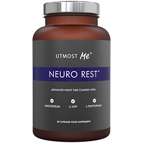 Neuro Rest Sleeping Tablets, Natural Melatonin Sources, 5HTP, Magnesium, Montmorency Cherry, Chamomile. Supports Deep Restful Sleep. 60 Vegan Capsules