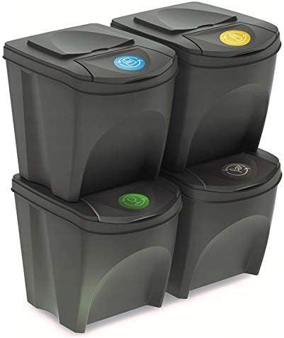 Mülleimer Abfalleimer Mülltrennsystem 100L – 4x25L Behälter Sorti Box Müllsortierer 3 Farben von rg-vertrieb (Grau)