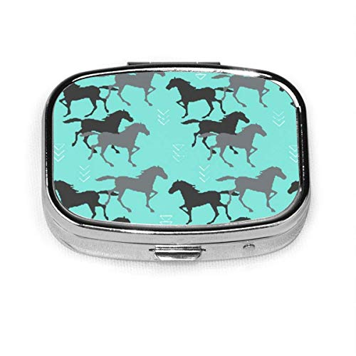 Black and Grey Horse Square Pill Box, Daily Pills Case with Easy Push Button for Vitamin, Easy to Open, Compartment Waterproof Daily Pocket Pill Case for Men and Women