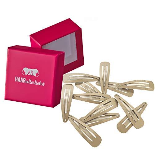HAARallerliebst MORE GRIP Haarspangen Anti Rutsch (12 Stück | beige | ca. 5cm) für blondes Haar inkl. Schachtel zur Aufbewahrung (Schachtelfarbe: pink)