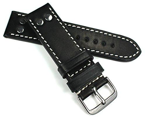 RIOS 1931 - Cinturino in pelle con borchie in pelle, 24 mm, colore: Nero