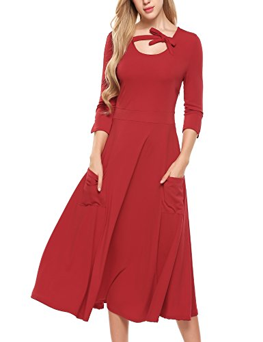 ACEVOG Womens 3/4 Sleeve Pockets Swing Loose Casual Flare Midi Long Dress