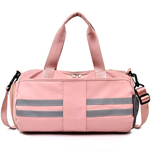MOLLYGAN Sport Duffel Swimming Yoga Gym Bag Best for Hiking Overnight Weekender Travel Airplane Bag With Wet Pocket and Shoes Compartment (Pink)