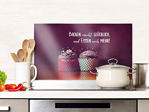 GRAZDesign Spritzschutz Küche Glas Spruch Backen Macht Glücklich, Küchenrückwand Herd, Glasplatte / 80x50cm