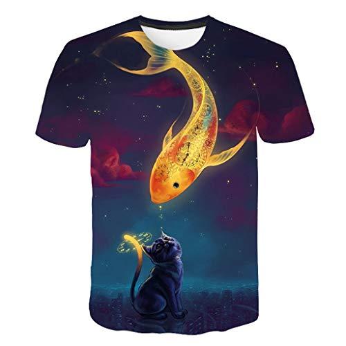 LXZWAN Cómoda Camiseta Creativa de Manga Corta, Frescos de Moda Unisex de Manga Corta de Camisas 3D Creativo Impreso Gato y Goldfish Gráficos Manera de La Personalidad Camisetas