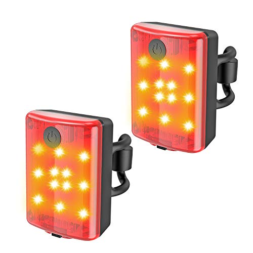Teshudi Rear Bike Tail Light 2 Pack, Ultra Bright USB Rechargeable Bicycle Taillights, 4 Light Mode Options Bike Tail Light for Cycling Helmet Safety Warning LED Mountain Tail Lamp