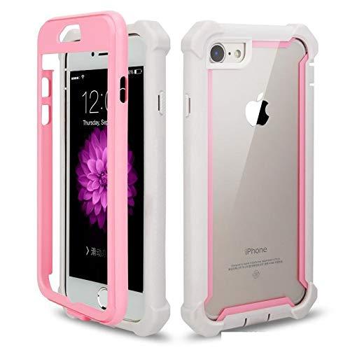 RAMEER Protector Funda Case Uso Rudo iPhone 6 6s 6 Plus 7 8 7 Plus 8 Plus X XS XR XS MAX 11 Pro MAX Frame (iPhone 7 Plus / 8 Plus, Rosa Blanco)