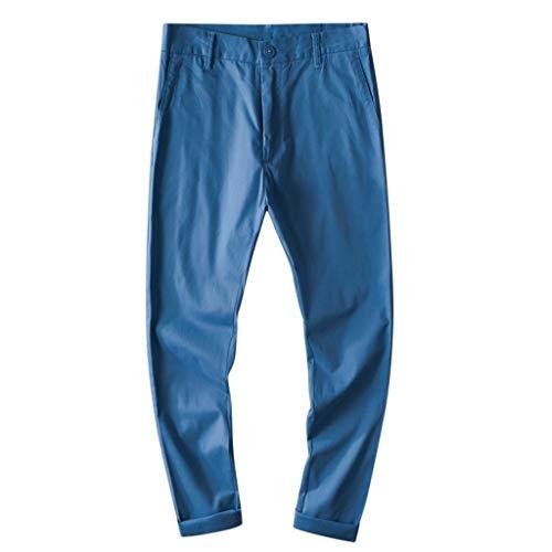 Panty's, joggingbroek, brede broek, broek voor heren, vrije tijd, katoen, ademend, losse lange broek, pure kleur rechte broeken 30 EU blauw