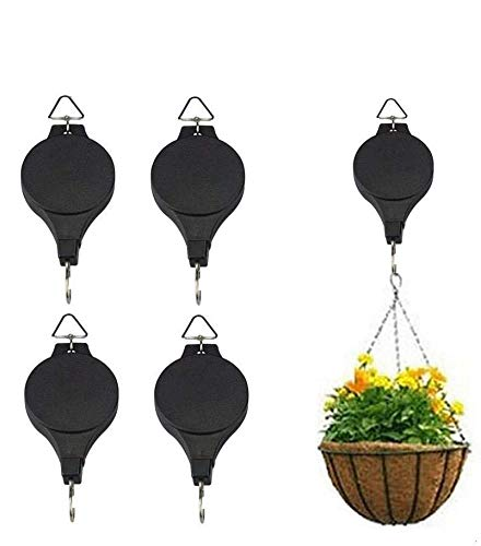 Plant Pulley Adjustable Hanging Planters Flower Basket Hook Hanger for Garden Baskets Pots Birds Feeder in Different Height Lower and Raise Indoor Outdoor Decoration: Garden & Outdoor (4Pcs)