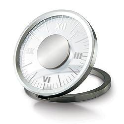 Closeoutservices Desk Clock - Transparent Analog Clock - Desk Clock Analog - Office Desk Clock - Folding Round Aluminum Frame