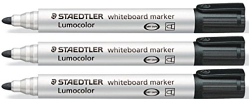 Staedtler Lumocolor Black Bullet Tip Whiteboard Board Markers (3 Pack) Glass Porcelain Dry Wipe Fast Dry Safe 351
