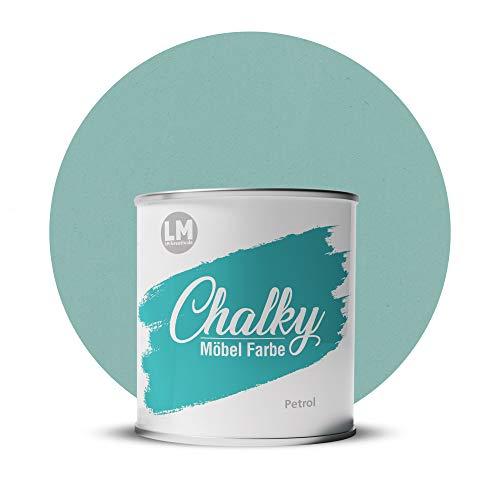 LM-Kreativ Chalky Möbelfarbe deckend 1 Liter / 1,35 kg (Petrol), matt finish In- & Outdoor Kreide-Farbe für Shabby-Chic, Vintage, Landhaus Stil