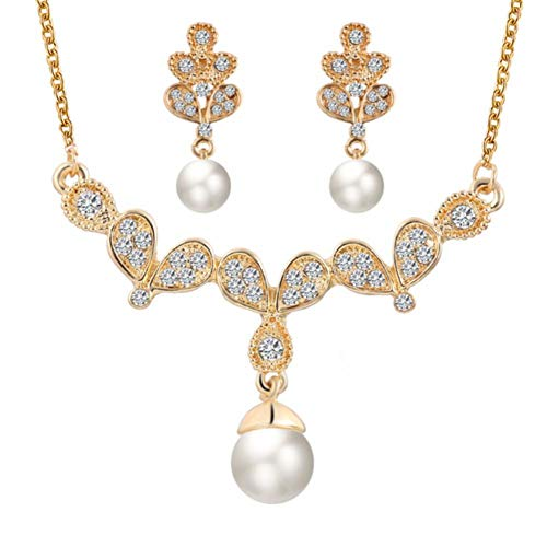 MSYOU Wedding Earring Elegant Women Flower Crystal Pearl Pendant Earrings Necklace Jewelry Accessories for Gifts