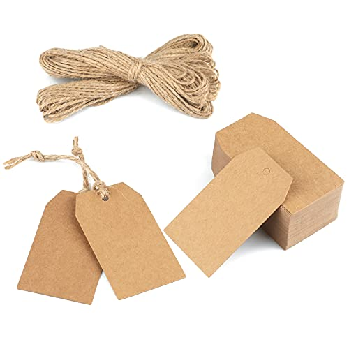 Étiquette Papier Kraft Étiquette Cadeaux 7x4cm, 100PCS avec Ficelle de Jute, pour Mariage, Noël, Cadeaux de Fête, Artisanat (marron)